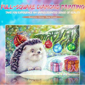 5D DIY Diamond Painting Kits Hedgehog Christmas Present NA0354 - 3