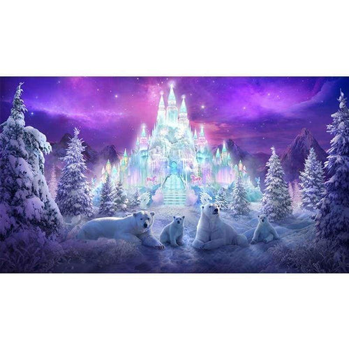 Full Drill - 5D DIY Diamond Painting Kits Winter Snow Castle Polar Bears - NEEDLEWORK KITS