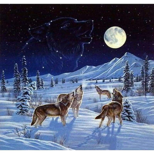 5D DIY Diamond Painting Kits Winter Wolfs Starry UK - Z0