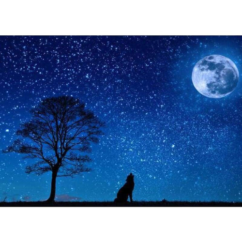 5D DIY Diamond Painting Kits Wolf Moon Starry UK - Z3