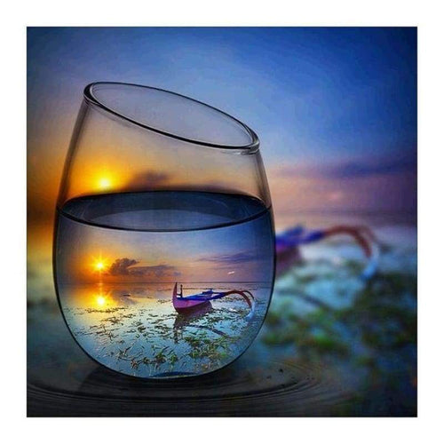 5D DIY Diamond Painting Kits World In Glass Series Beautiful Sunset