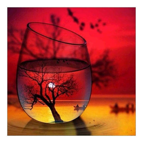 5D DIY Diamond Painting Kits World In Glass Series Sunset Glow