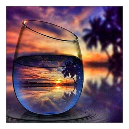 5D DIY Diamond Painting Kits World In Glass Series Warm Sunset