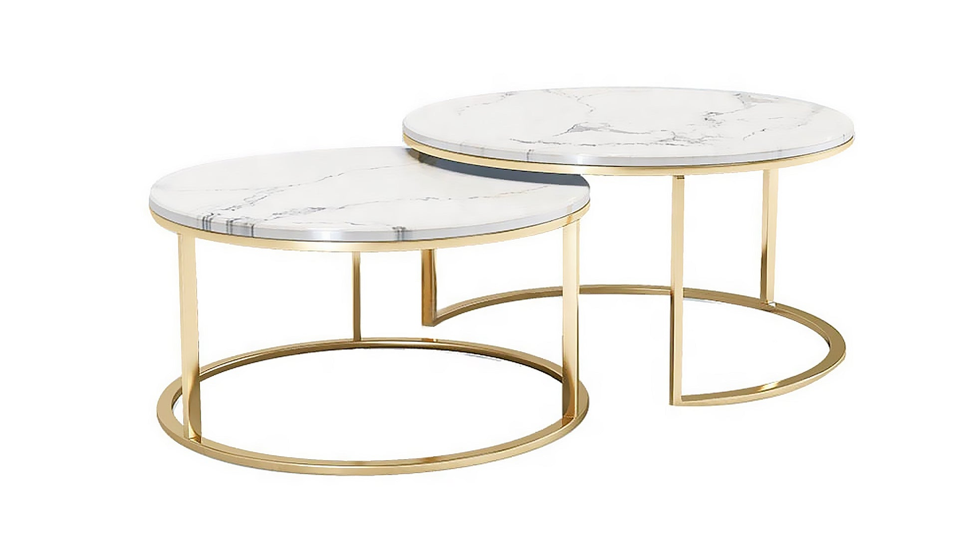 St Doubleround Marble Coffee Table Leathergold