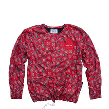 Load image into Gallery viewer, Paisley Crewneck YOUNG WAR Luxury Fashion Top Red with drawstrings Front View