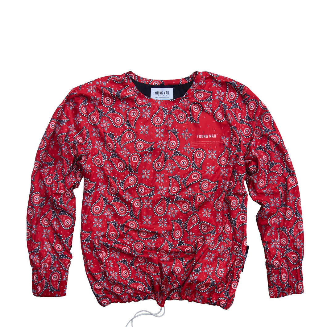 Paisley Crewneck YOUNG WAR Luxury Fashion Top Red with drawstrings Front View