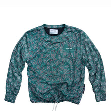 Load image into Gallery viewer, Paisley Crewneck YOUNG WAR Luxury Fashion Top Green with drawstrings Front View