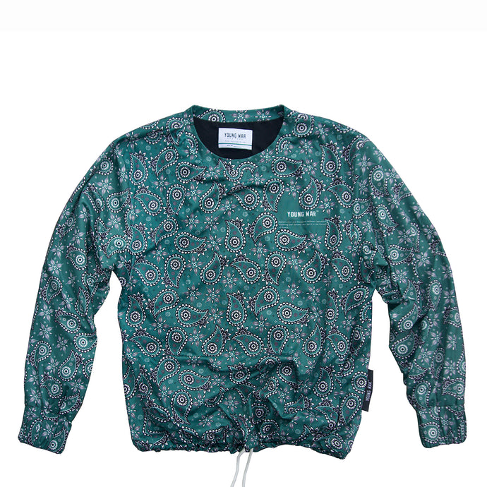 Paisley Crewneck YOUNG WAR Luxury Fashion Top Green with drawstrings Front View