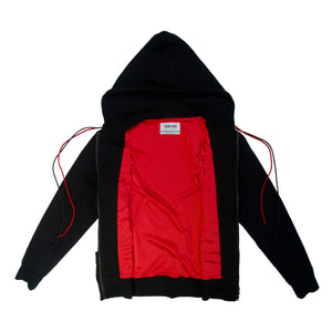 Black classic hoodie neck luxury fashion Cotton hoodie front view red lace and red slick lining zip open