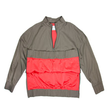 Load image into Gallery viewer, Mens luxury fashion grey track jacket front view red lace and red slick lining front view zips open
