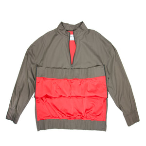 Mens luxury fashion grey track jacket front view red lace and red slick lining front view zips open