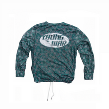 Load image into Gallery viewer, Paisley Crewneck YOUNG WAR Luxury Fashion Top Green with drawstrings Back View Large Print Logo