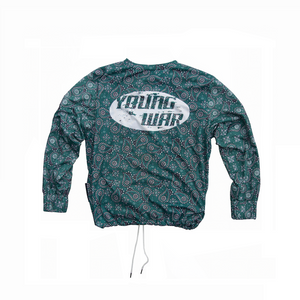 Paisley Crewneck YOUNG WAR Luxury Fashion Top Green with drawstrings Back View Large Print Logo