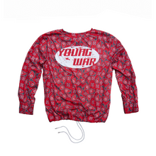 Load image into Gallery viewer, Paisley Crewneck YOUNG WAR Luxury Fashion Top Red with drawstrings Back View Large Logo