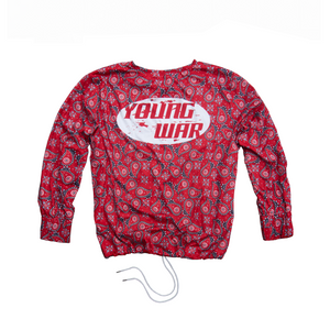 Paisley Crewneck YOUNG WAR Luxury Fashion Top Red with drawstrings Back View Large Logo