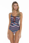Adelle Print Lacy One Piece Swimsuit