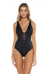 Color Splash Kate One Piece Black Front