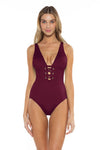 Color Splash Kate One Piece Burgundy Front