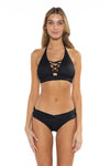 Color Splash Veronica Halter Bikini Top Black Front