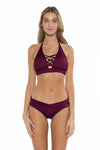 Color Splash Jenna Bikini Bottom Burgundy Front