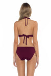 Color Splash Veronica Halter Bikini Top Burgundy Back
