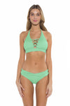 Color Splash Veronica Halter Bikini Top Mint Front