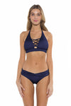 Color Splash Veronica Halter Bikini Top Navy Front