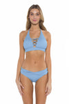 Color Splash Veronica Halter Bikini Top Sky Front