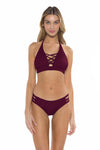 Color Splash Halie Bikini Bottom Burgundy Front
