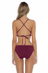 Color Splash Shay Bralette Bikini Top Burgundy Back
