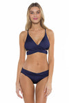 Color Splash Shay Bralette Bikini Top Navy Front