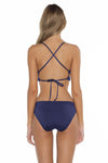 Color Splash Shay Bralette Bikini Top Navy Back