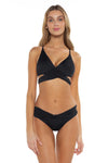 Color Splash Shay Bralette Bikini Top Black Front