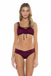 Color Splash Shirley Ballet Bikini Top Burgundy Front