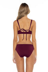 Color Splash Shirley Ballet Bikini Top Burgundy Back