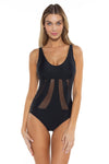 Mossimo Del Mar Gabby One Piece Swimsuit Black Front
