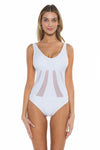 Mossimo Del Mar Gabby One Piece Swimsuit White Front