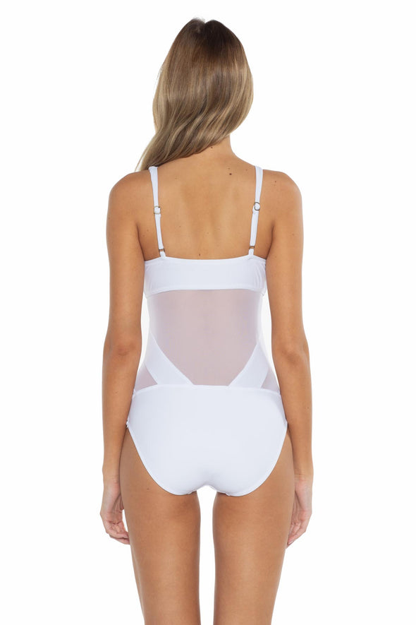 Mossimo Del Mar Gabby One Piece Swimsuit White Back