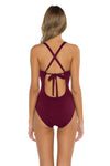 Seaside Samantha One Piece Swimsuit Burgundy Back
