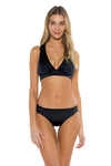 Seaside Samantha Halter Bikini Top Black Front