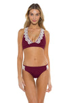Seaside Samantha Halter Bikini Top Burgundy Front