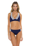 Seaside Samantha Halter Bikini Top Navy Front