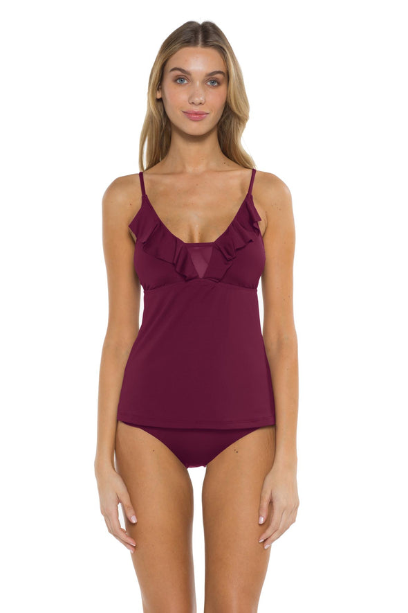 Spell Bound Layla Tankini Top Burgundy Front