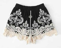 Go Fashions ink Lace Applique Embroider Boho Shorts