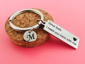 Drive Safe Keychain With Initials