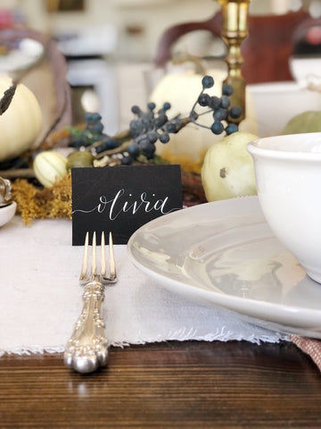 Custom hand lettered place cards by Maki creative on Thanksgiving tablescape
