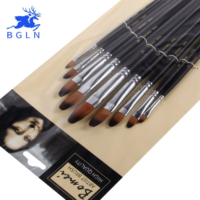 Nylon Paint Brush Set - 9 Pieces