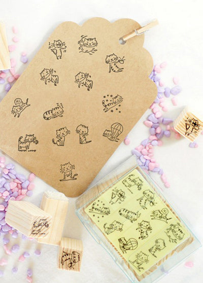 12 Pieces Cute Cat Stamps Set
