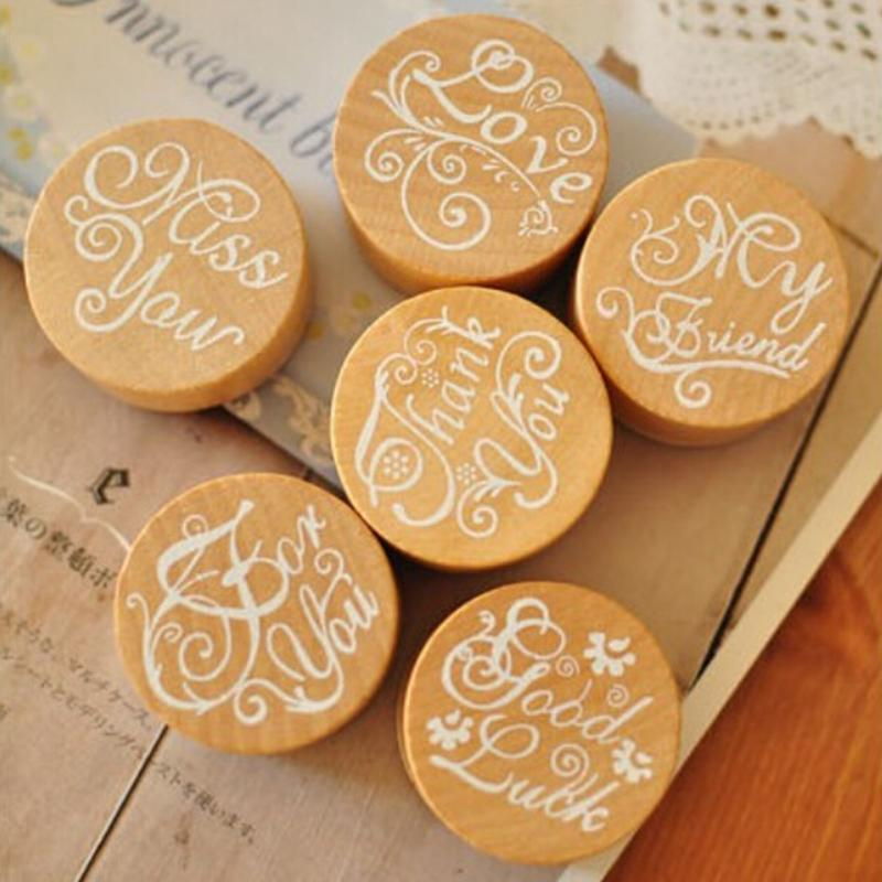Floral Pattern Round Wooden Rubber Stamp
