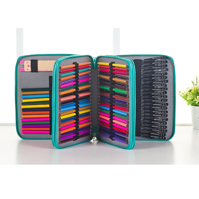Leather (PU) Pencil Case - 124 Pencil Slots